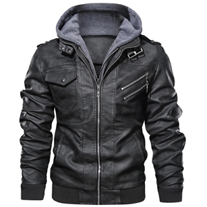Denzell Outwear Anarchist Leather Jacket Hooded Motorcycle ...