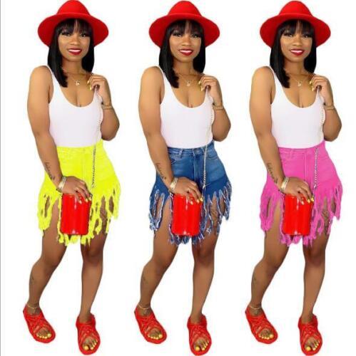 Woman Jean Shorts Pant Solid Color tassel Button Zipper Jean Shorts Pant S-3XL