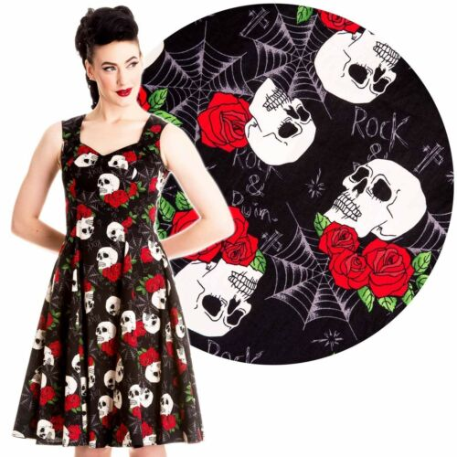 HELL BUNNY SKULL ROSES ROCK AND RUIN DRESS NEW 8-22 PLUS SIZE GOTH TATTOO PUNK