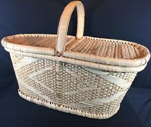 Image is loading VTG-PICNIC-BASKET-WICKER-OVAL-HEAVY-DOUBLE-HINGED- : sewing storage baskets  - Aquiesqueretaro.Com