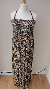 BNWT-Black-Beige-AnimalPrint-Halterneck-GEORGE-Maxi-Sundress-Padded-Cups-Size-12