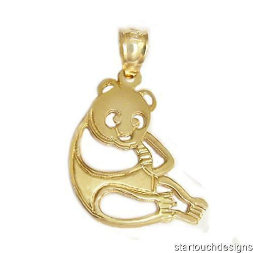 New 14k Yellow Gold Panda Bear Pendant