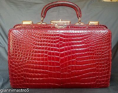 "Valextra Milano Rare Authentic Crocodile ""coffre"" Handbag Vendite Economiche 50%"