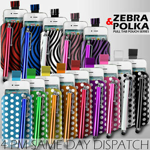 LEATHER-POLKA-amp-ZEBRA-PULL-TAB-CASE-COVER-POUCH-STYLUS-FOR-VARIOUS-APPLE-PHONES