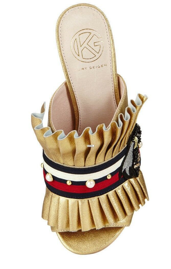 KURT GEIGER KG KG KG Mistress Fringed Heeled Gold Mules Embellished - UK 5 6 270f5f