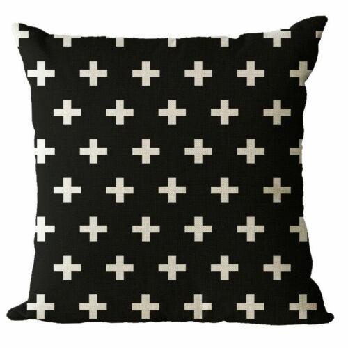 Cotton Case Black Striped Cushion White Home Pillow Cover Linen Waist Decor