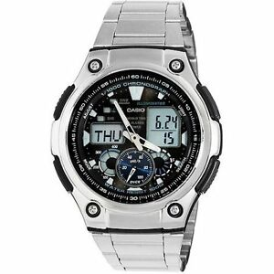 CASIO-AQ-190WD-1AVDF-SILVER-STAINLESS-STEEL-STRAP-WATCH-COD-FREE-SHIPPING