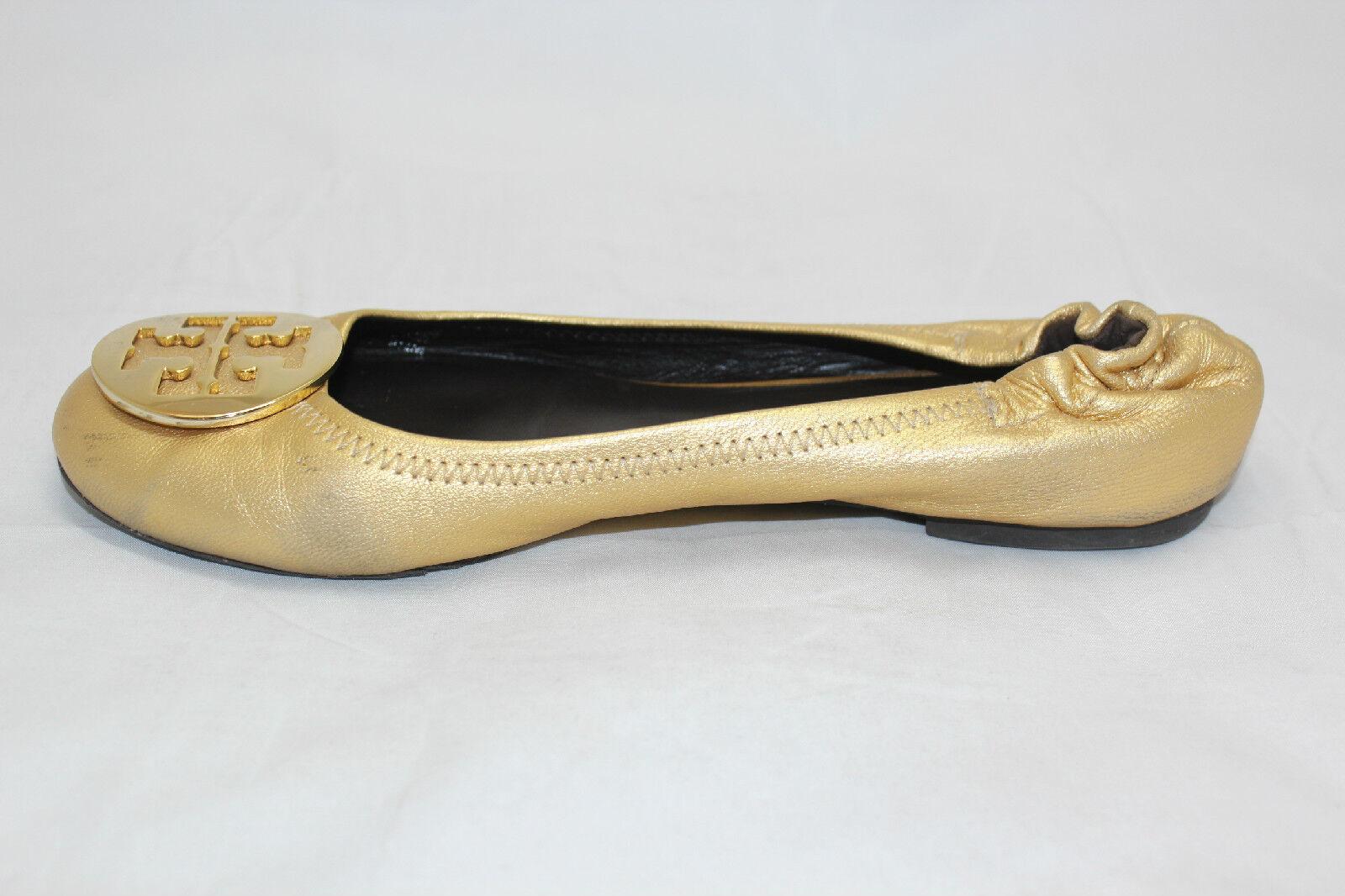 TORY BURCH Reva Metallic Gold Tumbled 8.5 Ballerina Ballet Flats 8.5 Tumbled M  (R2) 64dcc0