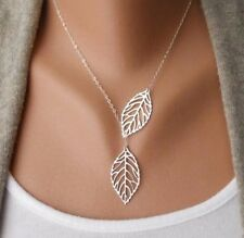 Lariat Necklace Link Cable Chain Silver Plated With Hollow Leaf