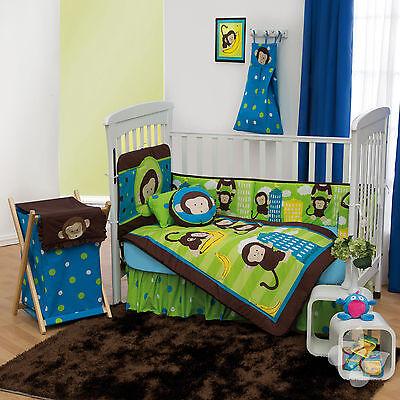 NEW Brown Green Monkeys Baby Crib Bedding Nursery Set