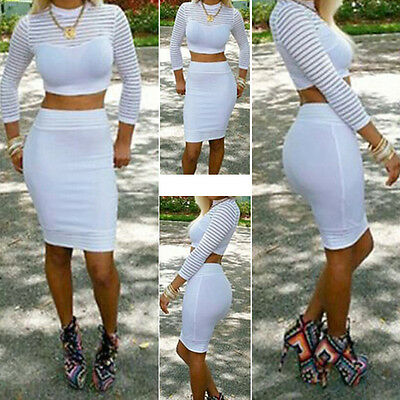 New Two Piece Long Sleeve Bodycon Clubwear Cocktail Pencil White Party Dress
