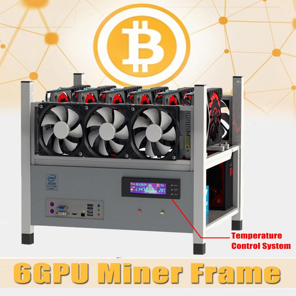 BX36 6GPU Miner Frame 6 Fans Open Air Frame Coins Minning Case BTC ETH Ethereum