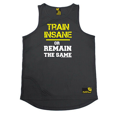 Treu Gym Bodybuilding Vest Funny Mens Sports Performance Singlet - Train Insane Remai Moderater Preis