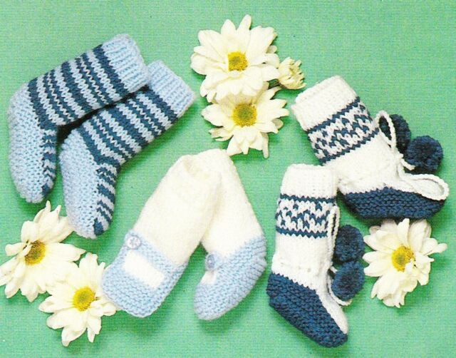 3 DESIGNS BABY SOCKS / BOOTEES - 8ply - Baby knitting pattern