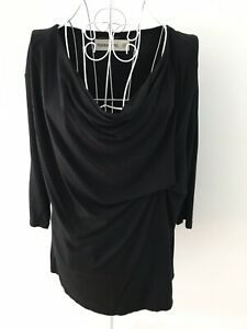 SANCERRE-Sz-8-Womens-Top-Black-Long-Sleeve-Stretch-Front-Gather-Work-Casual