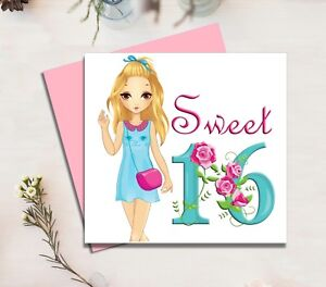 Image Is Loading Sweet 16 Birthday Card Teenage Child Girls Daughter