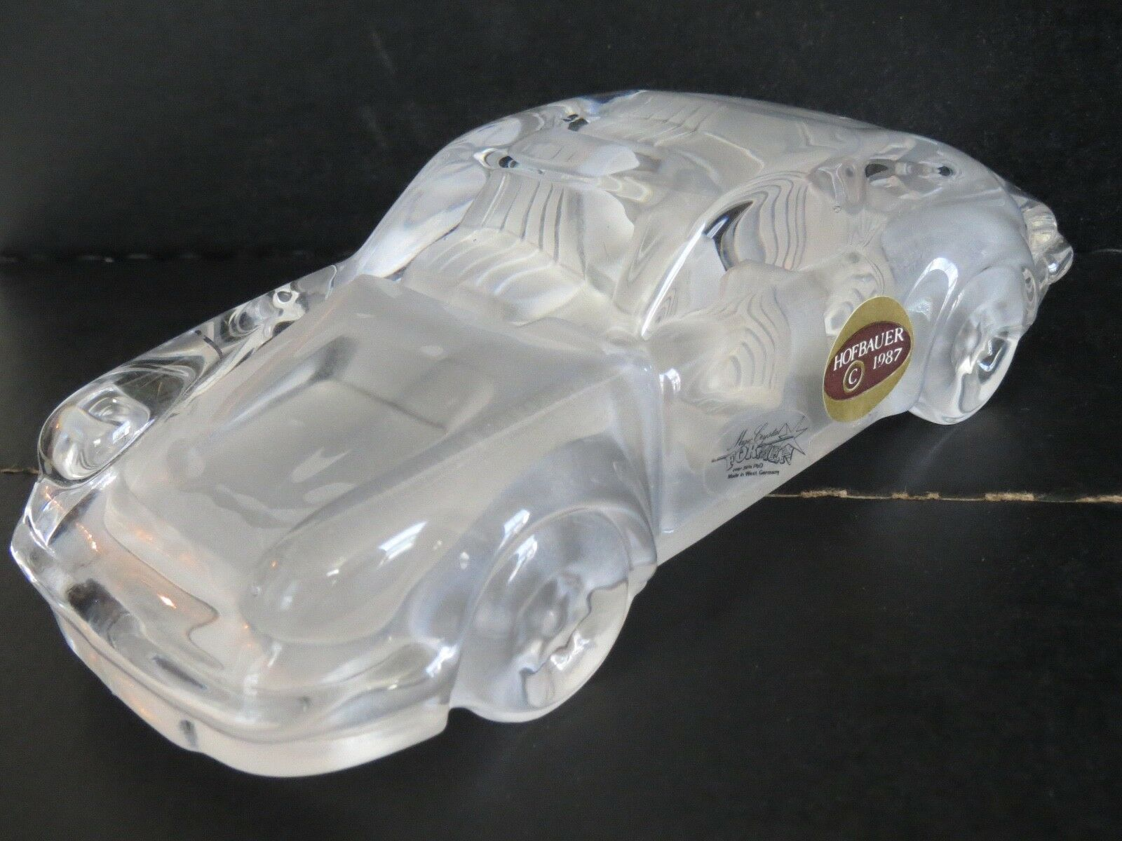 HOFBAUER 1987 Magic Crystal PORSCHE CAR Figurine 24% PbO Made in West Germany