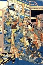 Japanese Women Listening Old Woodblock Repro Picture Print by Utagawa Kunisada