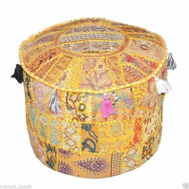 Indian Vintage Ottoman Pouf Cover Handmade Patchwork Cotton Ottoman Foot Stool_1