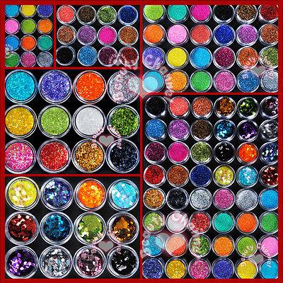 12 24 48 Color Metal Shiny Hexagon Strip Glitter Acrylic Powder Nail Art Set Kit