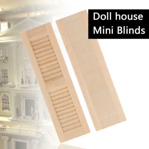 2 Pcs Unpainted Mini Blinds Dollhouse Wooden Shutters DIY Window Accessorie L1E6