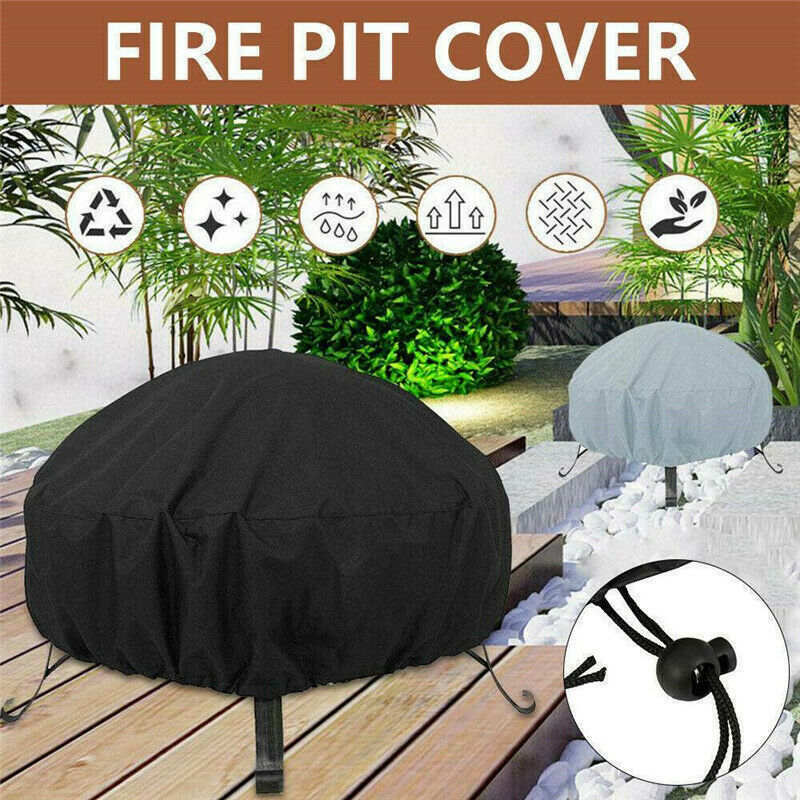 77 x 58 cm Patio Round Fire Pit Cover Waterproof Dust Protector Grill BBQ Cover