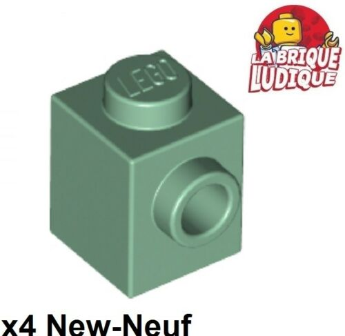 4x Brique Brick Modified 1x1 stud 1 side vert sable//sand green 87087 NEUF Lego