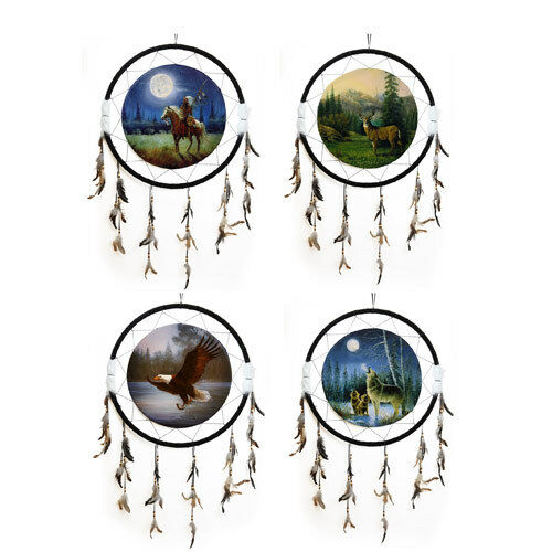 """Giant 26/"""" Dream Catcher Indian Deer Eagle Wolf Feathers Fur Beads Gift You Pick"""