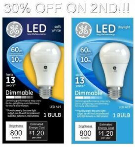 Details About Ge Led Dimmable Light Bulbs 60w 10w Daylight Soft White 1ct 30 Off On 2nd