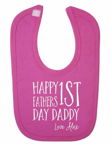 Personalised Happy 1st Fathers Day Cute Newborn Toddler Baby Bib 100/% Cotton