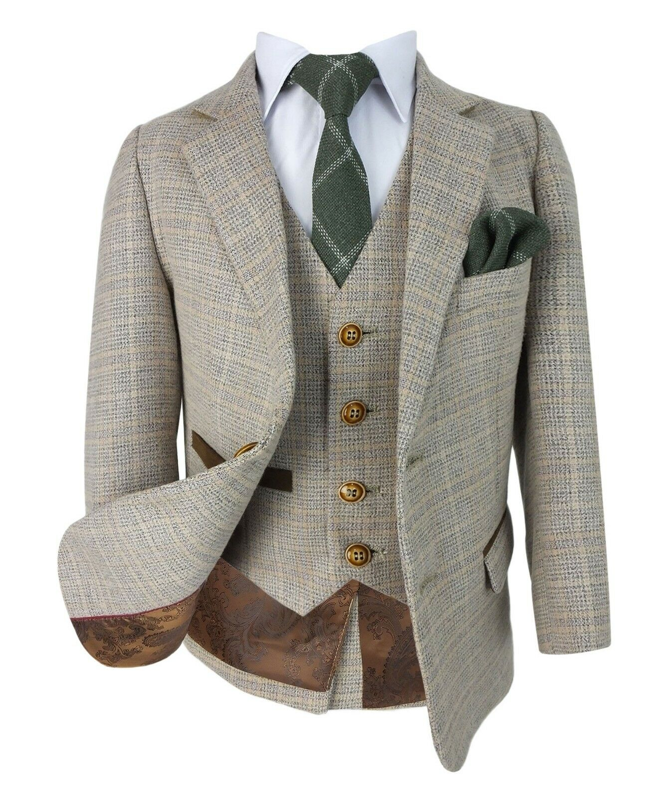 Kids Herringbone Tweed Suit Vintage Style Page Boys Prom Wedding Check Suits