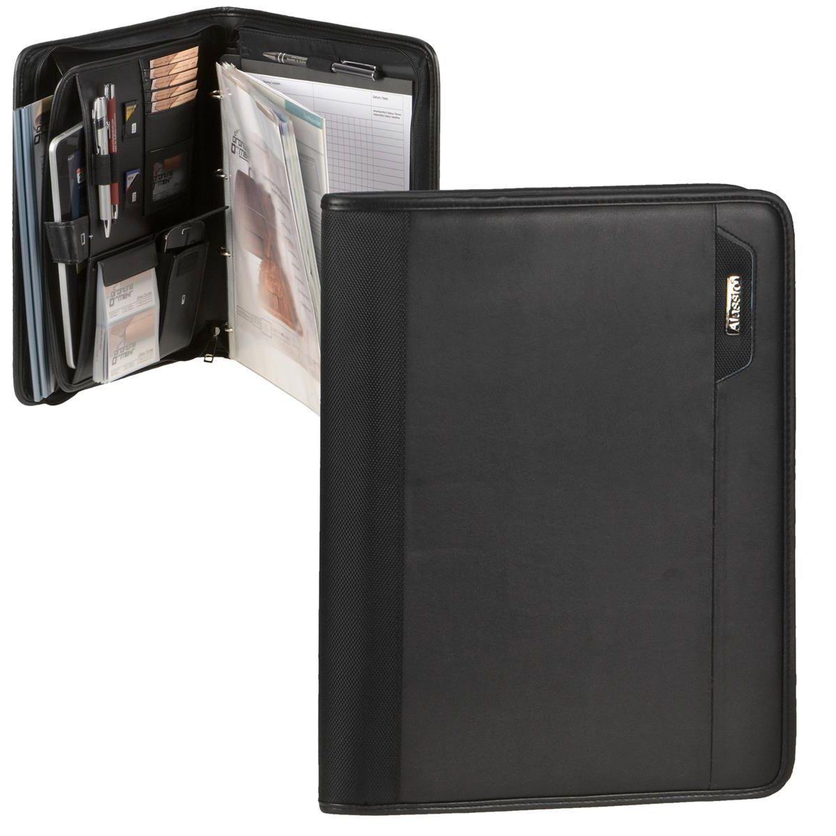 Schreibmappe A4 schwarz Konferenzmappe mit Tabletfach + Faltshopper   Neuheit Spielzeug    Quality First    Hohe Sicherheit