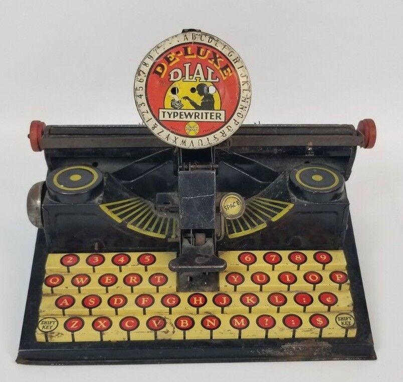 Vintage 1930's Marx Litho Kids Tin Toy De-Luxe Dial Typewriter