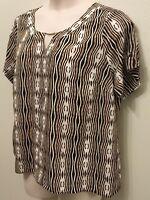 Worthington 1x Top Shirt Womens Plus Short Sleeve Black White Yellow