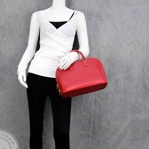 5e54637dc9a Image is loading Louis-Vuitton-Red-Epi-Alma-Top-Handle-Bag-