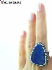 TURKISH HANDMADE 925 STERLING SILVER LAPIS DRUSY HAMMERED RING VK09