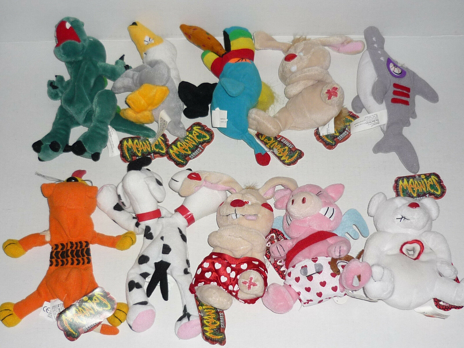 Vintage Meanie Beanie Babies Lot Lot Lot of 10 Series 1 & Valentines NWT NEW 242f17