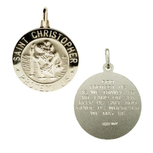 Sterling Silver St Christopher 3D Pendant With Travellers Prayer /& Chain Option