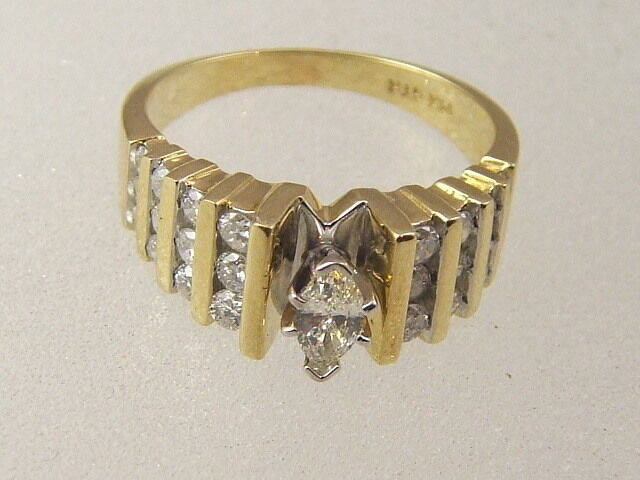 14K MARQUISE DIAMOND ENGAGEMENT RING - 14 KARAT gold 0.85 Ct WITH DIAMOND ACCENT