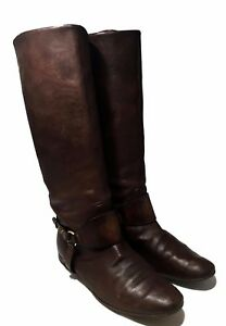 GUCCI-BROWN-LEATHER-FLAT-BOOTS-39-5