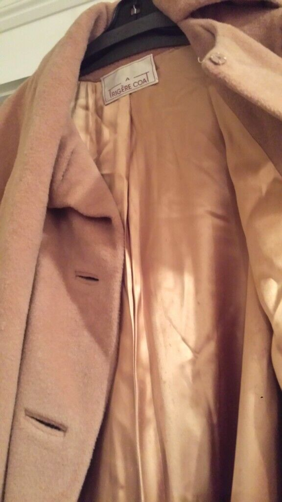 Vintage Trigere Camel Wool Long Coat with Scarf -… - image 5
