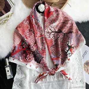 100/% Seda Bufanda Chal Mujer Estampado Floral Patrón