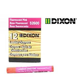 Dixon One Dozen Fluorescent Pink Lumber Crayons Keel