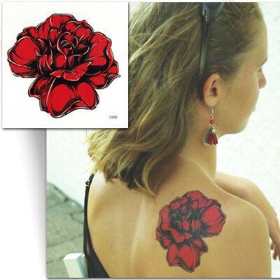 GRAND TATOUAGE TEMPORAIRE ROSE ROUGE (Faux tattoo, décalcomanie femme)   eBay