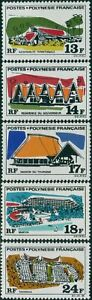 French-Polynesia-1969-Sc-253-257-SG104-108-Polynesian-Buildings-set-MLH