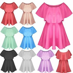 Details about Womens Ladies Celebrity Flared Franki Frill Off Shoulder Mini  Skater Dress Top 732485eb2