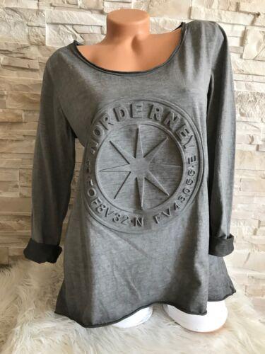Italy  langarm Shirt 3D Stern Schrift Gr 36 38 40 grau Neu Herbst