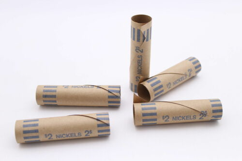 200 Nickel Preformed Shotgun Wrappers Coin Storage MMF Bank Tube Rolls Nickels