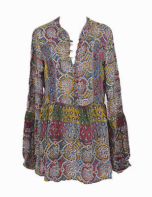 NWT TOLANI HOLLYWOOD CELEBS FASHION  BETTY FLORAL PRINT SILK BLOUSE TUNIC TOP