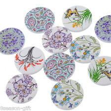 HX 30PCs Mixed Pattern 4 Holes Round Wood Painting Sewing Buttons 30mm B18514